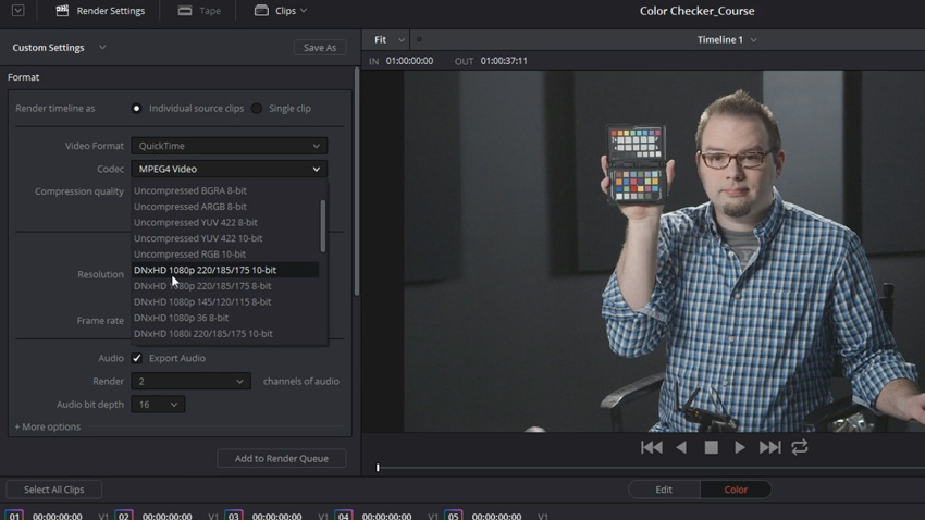 How to Export Color-Corrected Clips from DaVinci Resolve