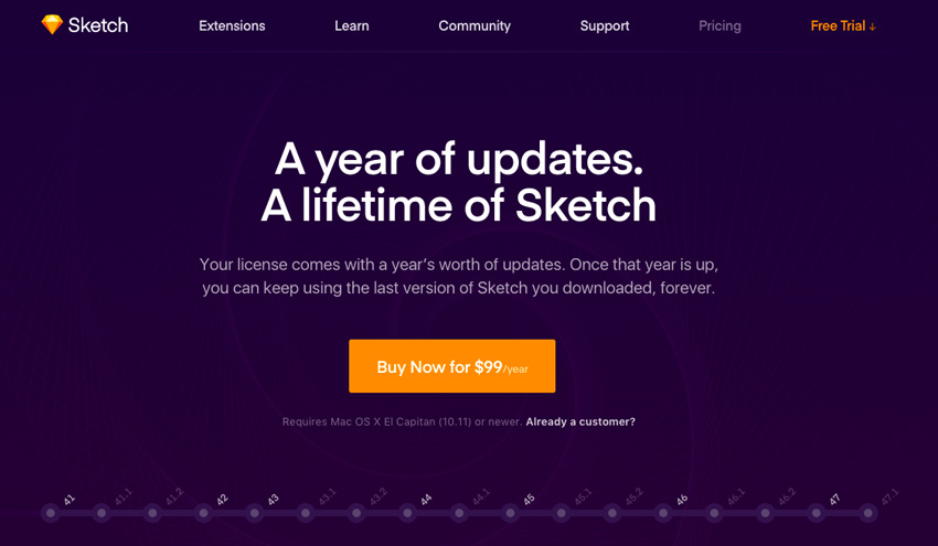 Sketch pricing page