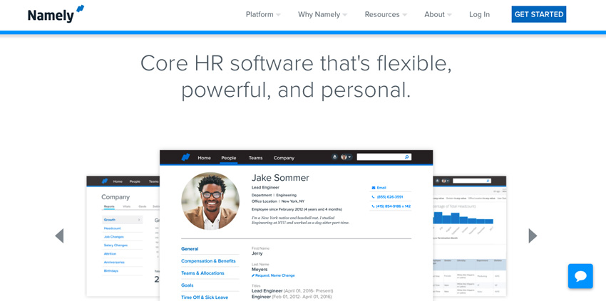 Namely business HR website
