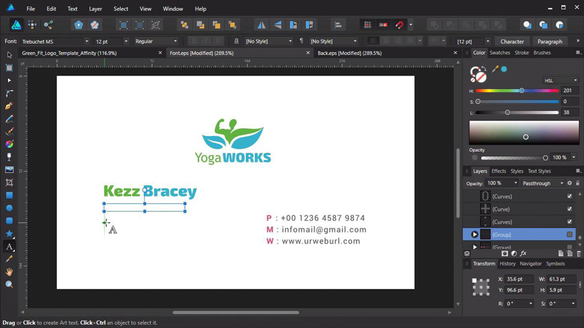 Business card creation in Affinity Designer