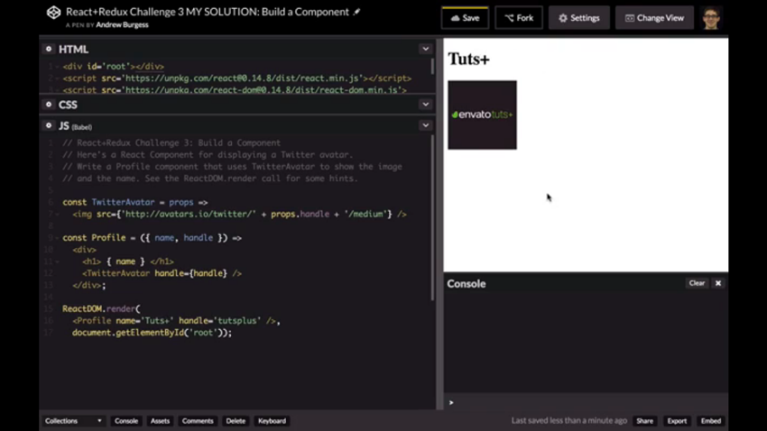 CodePen solution showing Tutsplus and its Twitter avatar