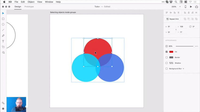 Screenshot from the Adobe XD course