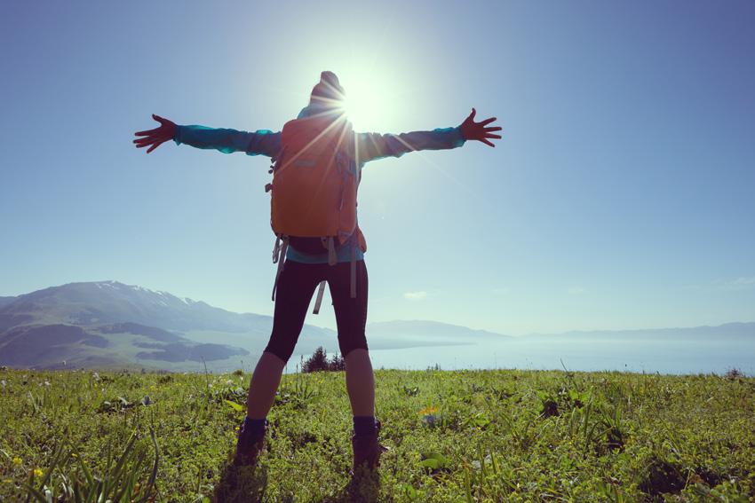 A hiker enjoying nature