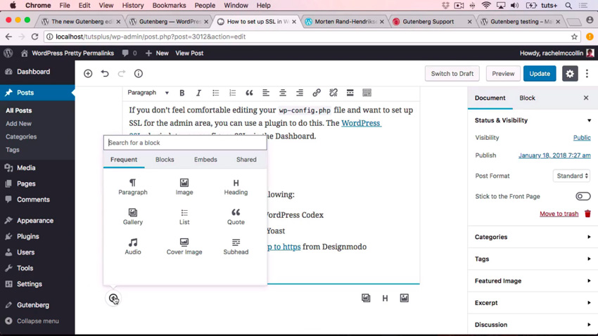 First Look at WordPress Gutenberg