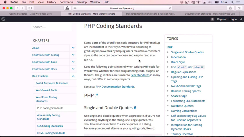 WordPress PHP coding standards