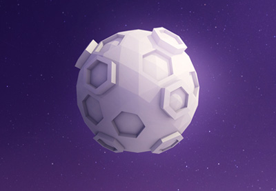 Create a low poly moon with cinema 4d 400x277