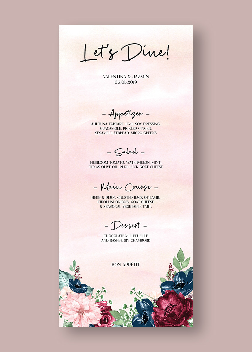 Final wedding menu template