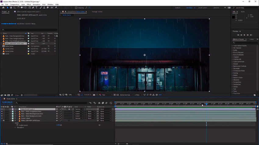 Rain scene in Adobe After Effects