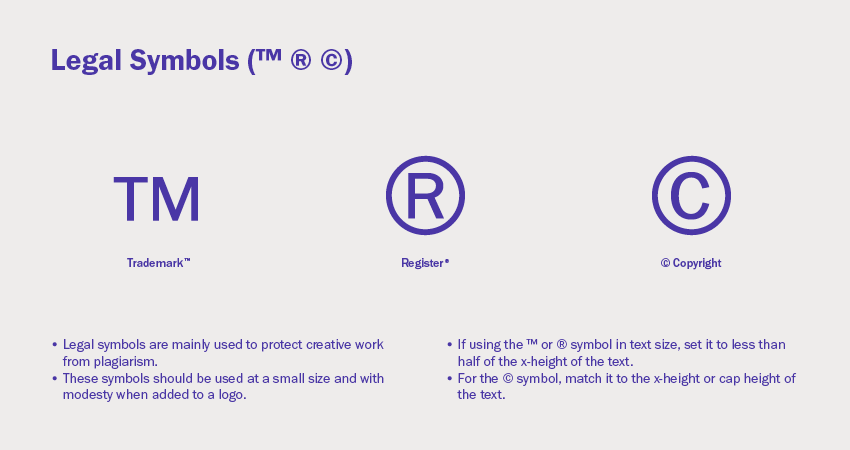Legal symbols trademark register and copyright