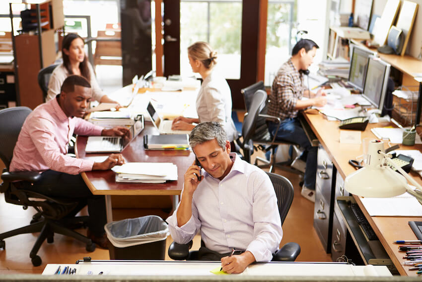 Employees at work in an office