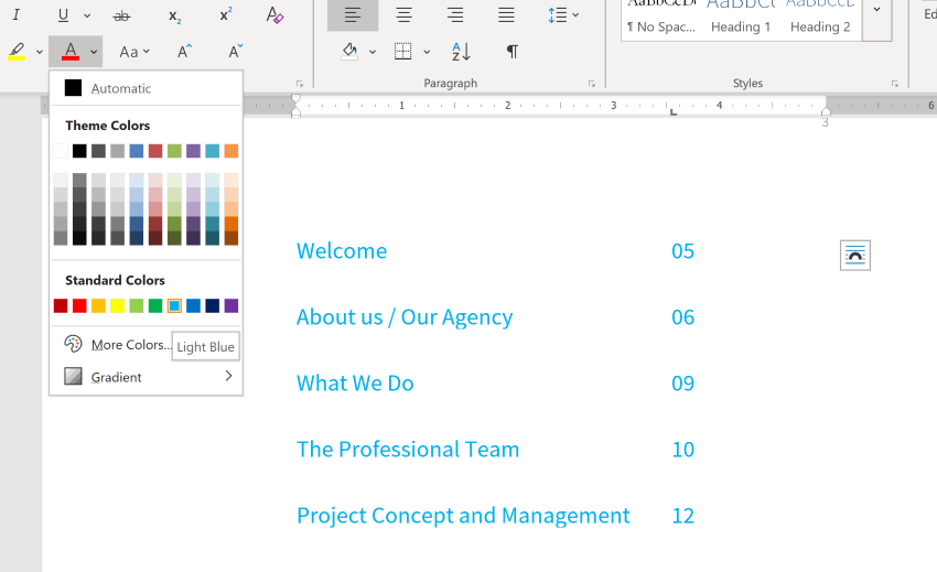 business proposal template word doc text color change