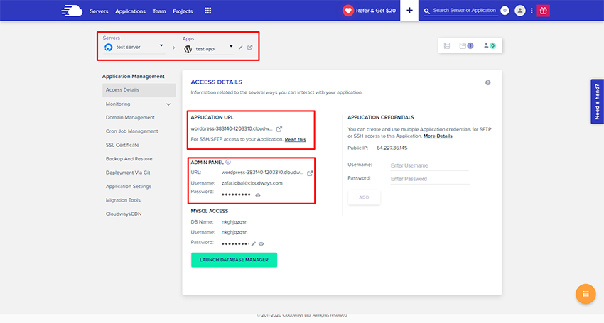 Application Management area in Cloudways