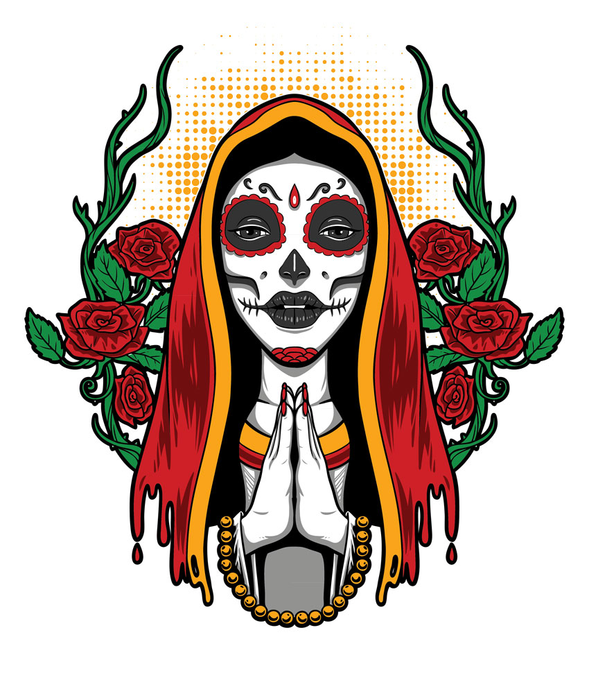 Holy Muerte Portrait Illustration