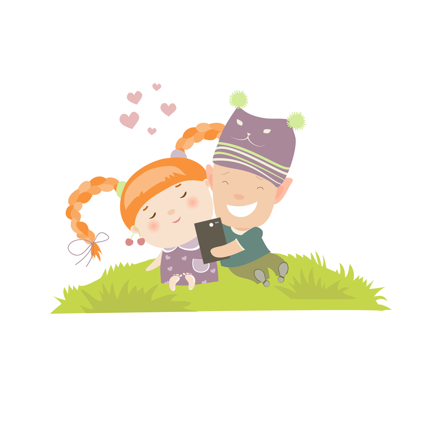 Young Couple Self Portrait Illustration