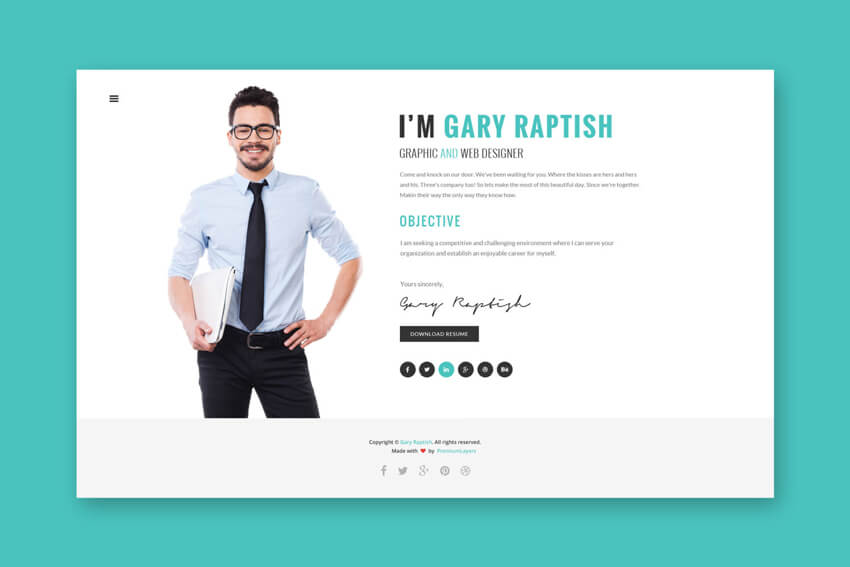 5 examples of beautiful resume  cv web templates