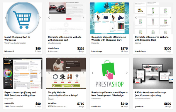 Shopping cart providers on Envato Studio
