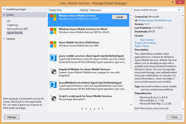 Add Windows Azure Mobile Services SDK to the app