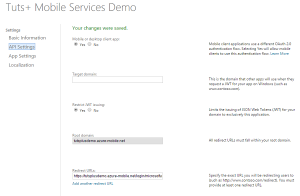 Configure App Settings in Live Services Site