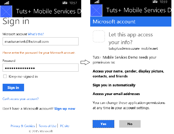 Login using a Microsoft account