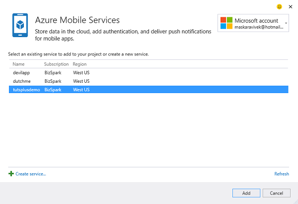Connect to an Azure Mobile Service