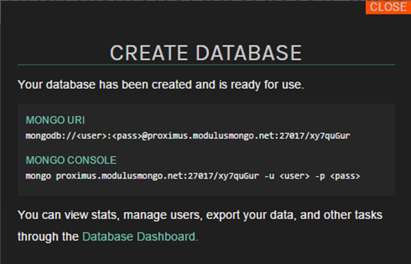 Your database has been created and is ready for use