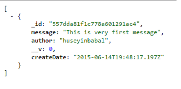 Sample JSON message
