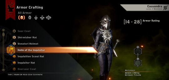Armor Crafting in Dragon Age Inquisition