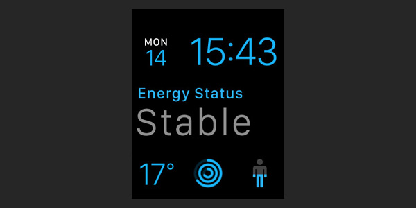 Lifesums complication on the watch face displays your current energy status