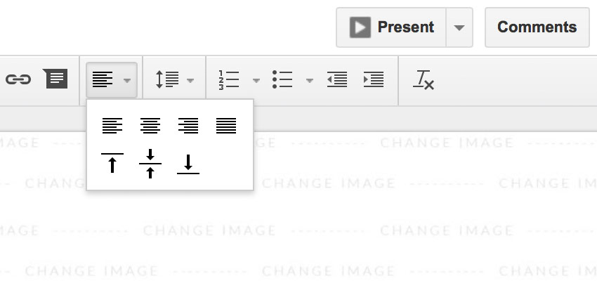 The alignment dropdown menu