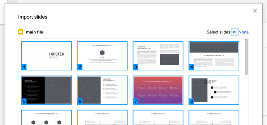 Importing presentat template slides to Google Slides