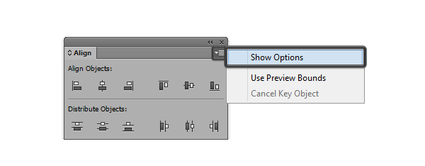 align panel show options dropdown