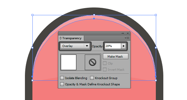 adjusting the blending mode for the curved highlight