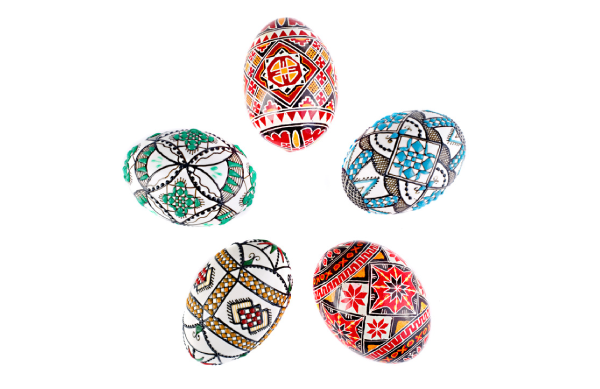 Romanian traditional pattern painted eggs