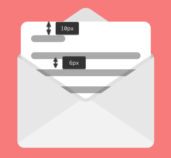 positioning the text lines onto the second email icon