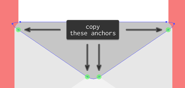 anchor points duplication process for the second email icon