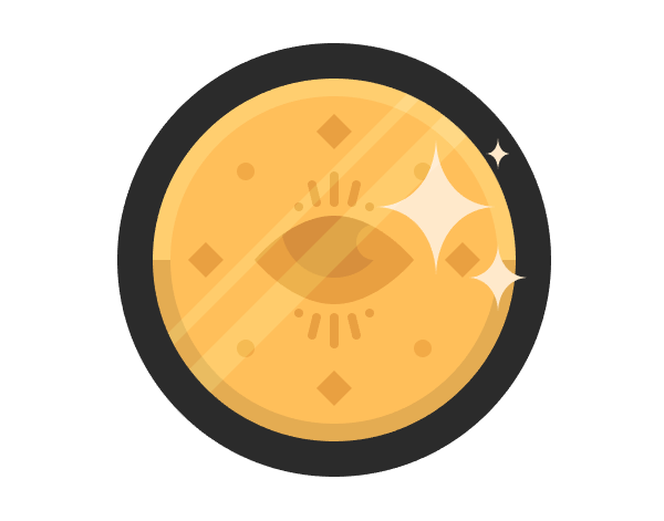 star-shaped highlights positioned onto the coin icon