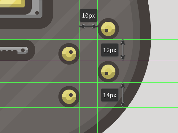 placing the guitars volume knobs