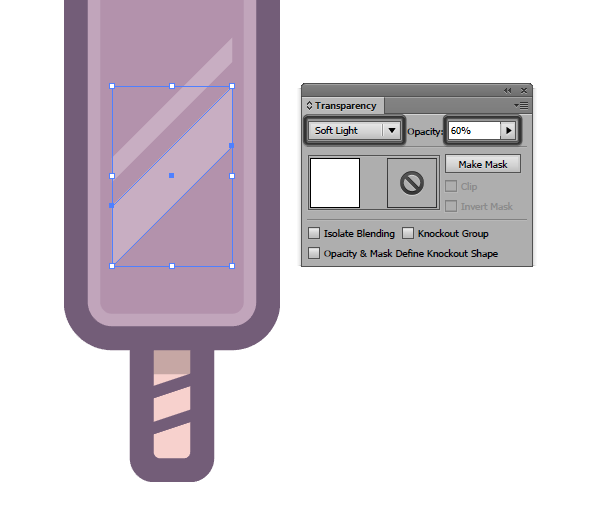 adjusting the blending modes for the diagonal highlights of the first icon