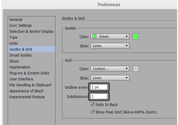 adjusting the grid settings
