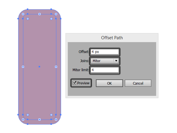 creating the outline of the first icon using the offset path effect
