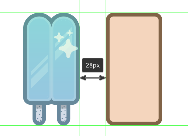 positioning the basic shapes for the sixth icon