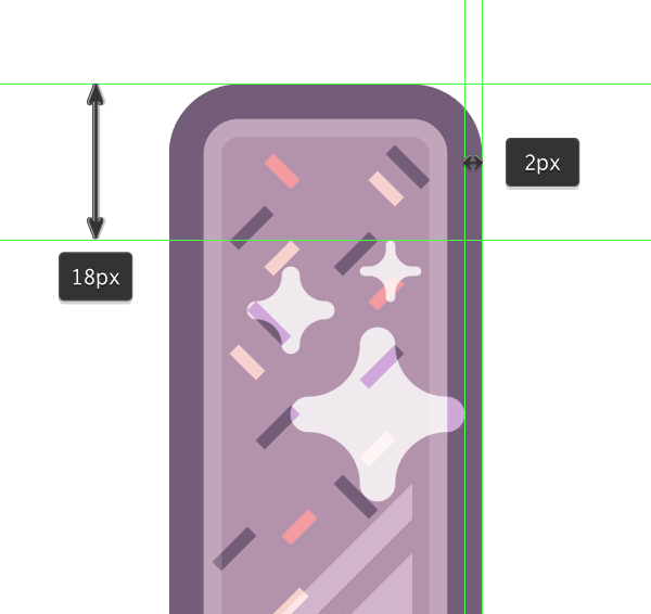 positioning the star shaped highlights onto the first icon