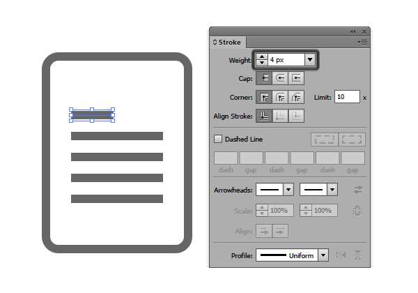 adding the line details to the document icon using the stroke method