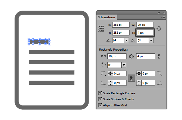 adding the text line to the document icon using the offset path method