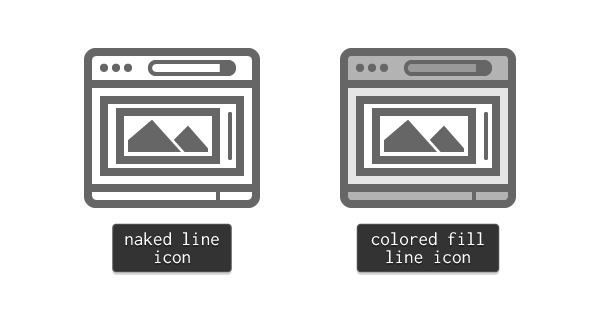 naked line  and colored fill line icon example