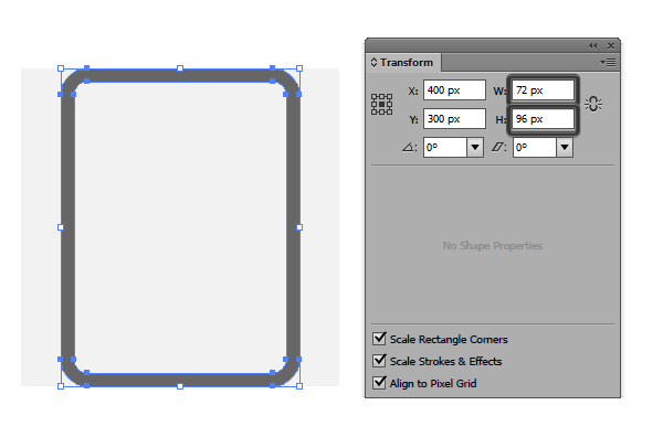 size comparison document icon created using the offset path method