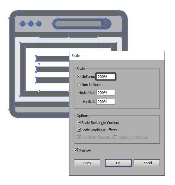 example of resizing the window icon using a 200