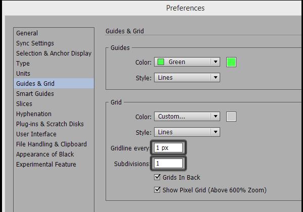 adjusting the grid settings