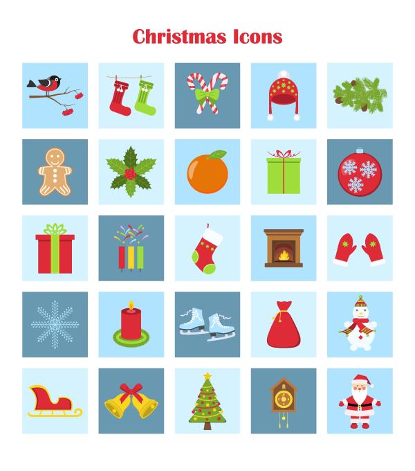 exemplo de pacote de ícones temáticos de natal