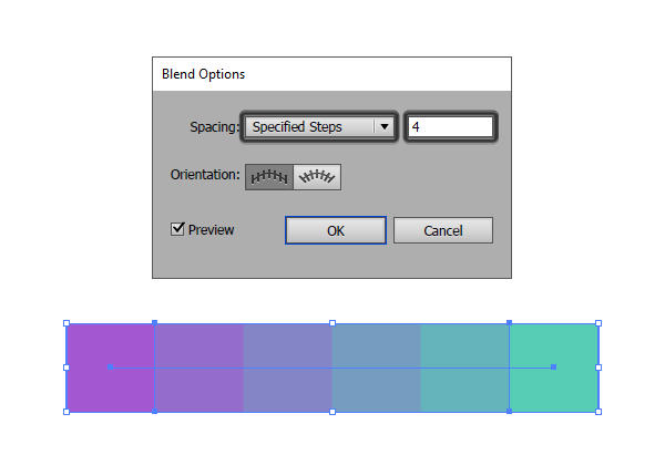 creating a color palette using the blend tool